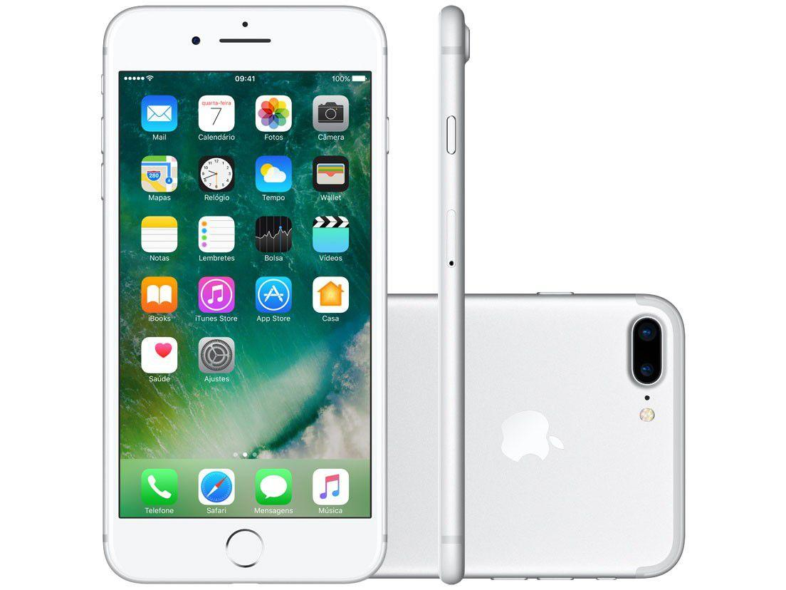 "2bdb5bf85 iPhone 7 Plus Apple 32GB Prateado 4G Tela 5.5"" - Câm. 12MP + Selfie 7MP iOS  10 Proc. Chip A10 - iPhone - Magazine Luiza"