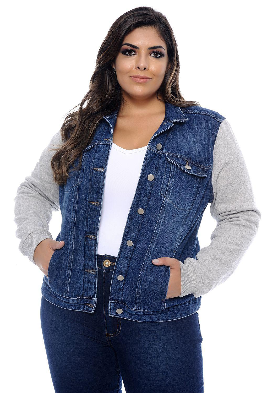 053f95edc605de Jaqueta Plus Size Jeans Moletom Forrada - Cambos - Blazer e Jaqueta ...