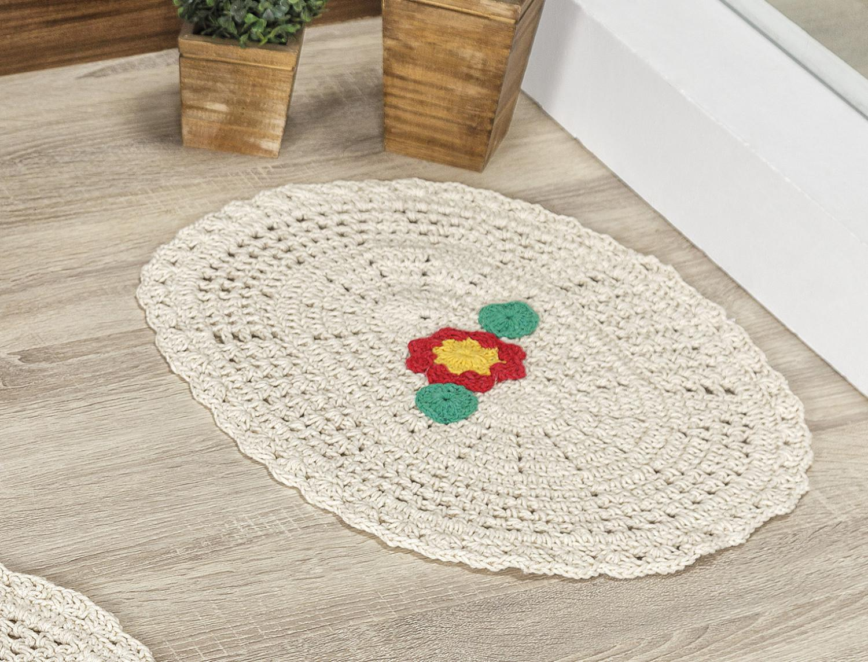 1600953980 Jogo de Banheiro Crochê Flora 3 Peças 100 Algodão Cru - Vilela enxovais R   94