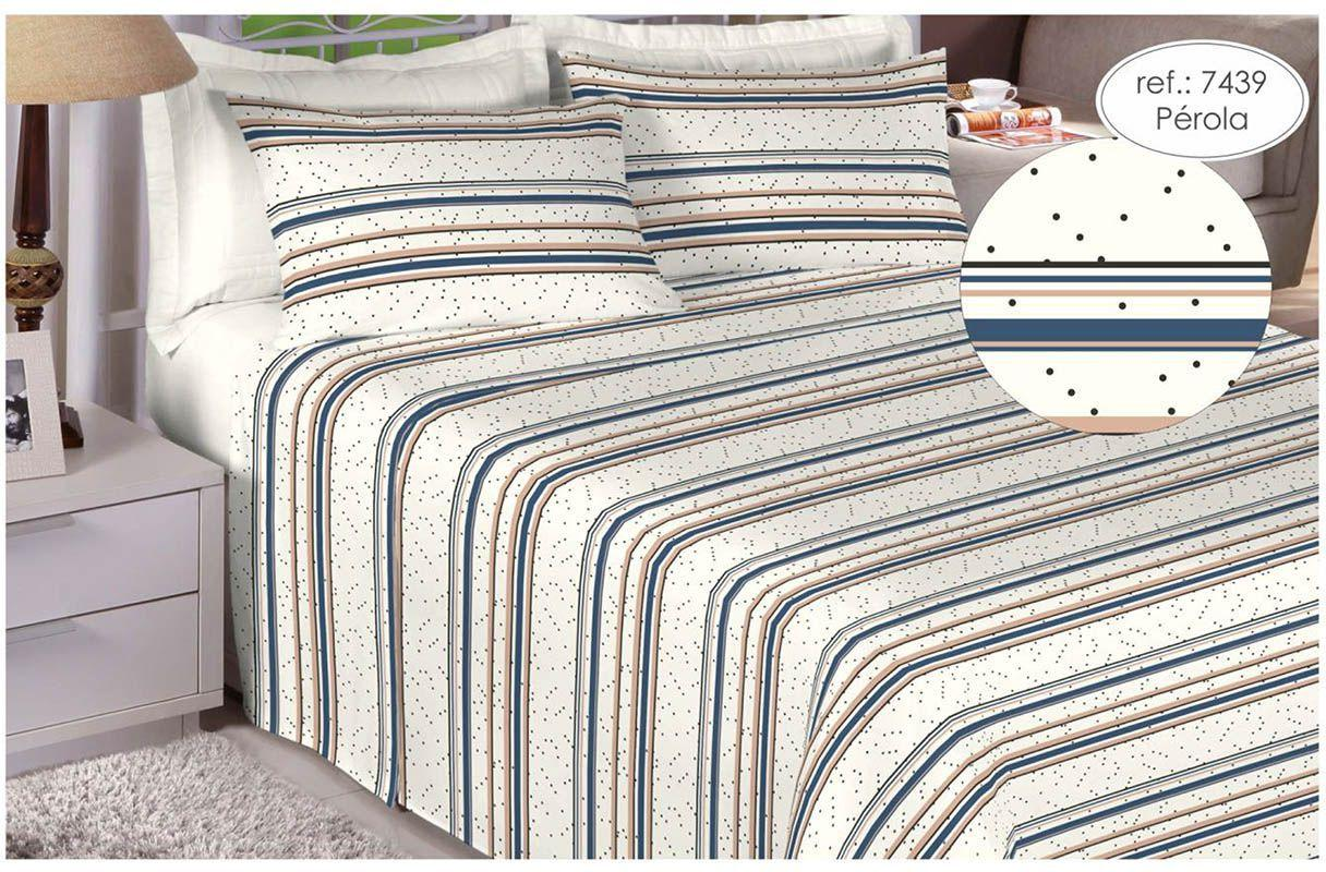 5361bab026 Jogo de cama queen size Percal 180 fios - 100 algodão Premium - Pérola 7439  - Estamparia R  115
