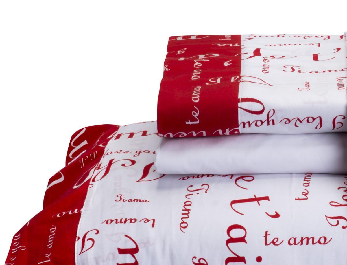 7c4338bec3 Jogo de Cama Te Amo Queen 4 Peças Vermelho com Branco - Vilela R  211