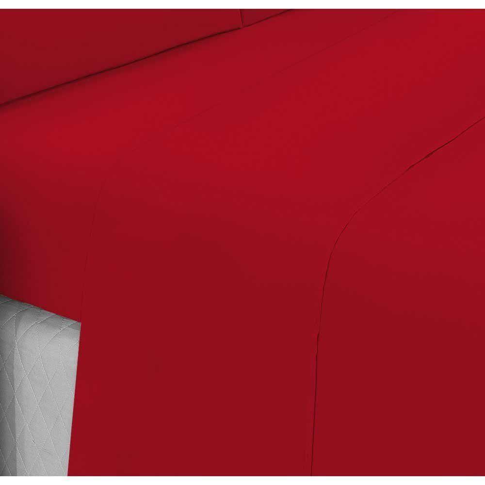 4c233fae34 Jogo de Lençol Casal Padrão Liso Pati 04 Peças Tecido Microfibra - Vermelho  - Paulo cezar enxovais R  54
