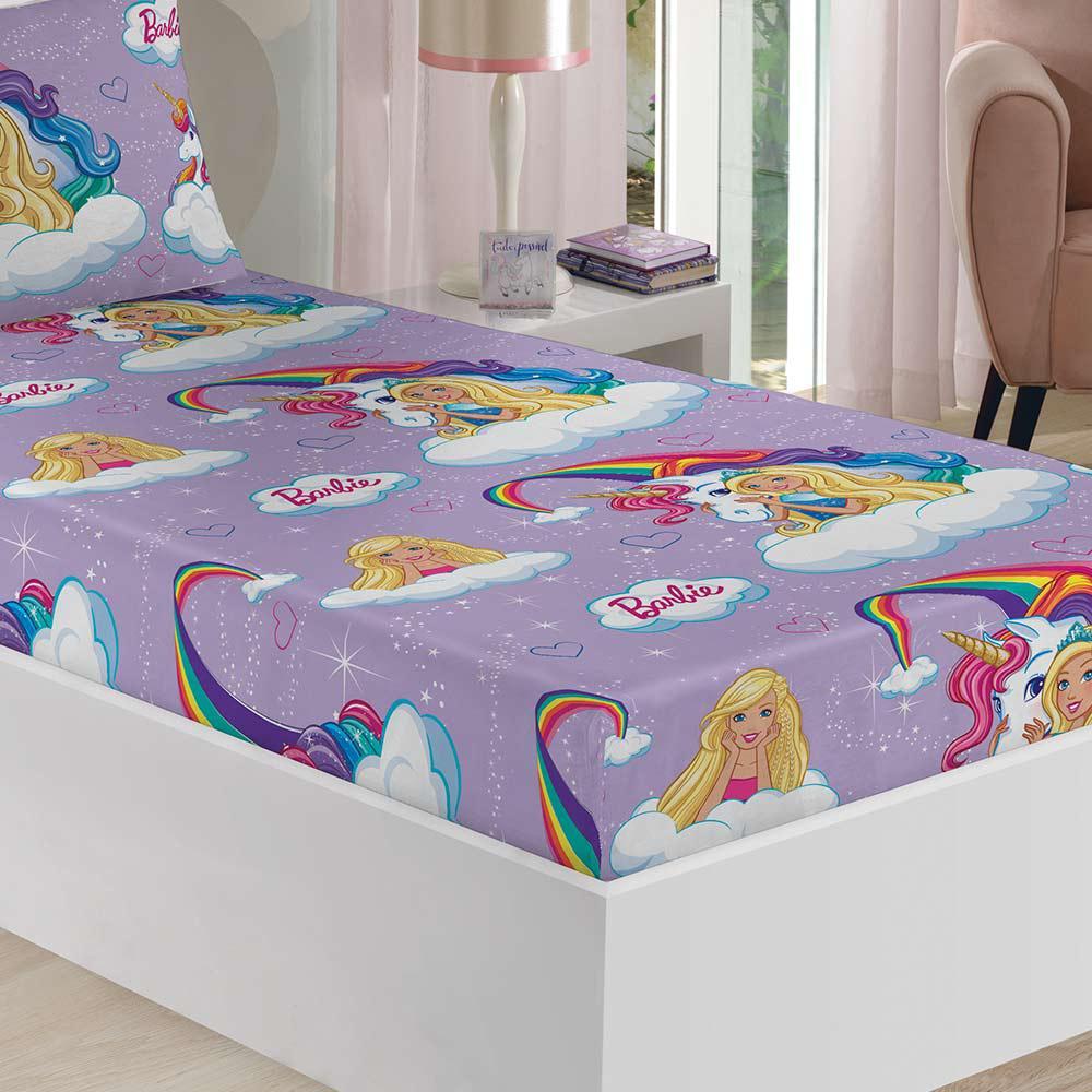 a0853790c2 Jogo de Lençol Infantil Barbie Reinos C  Elástico Lepper - Lençol ...