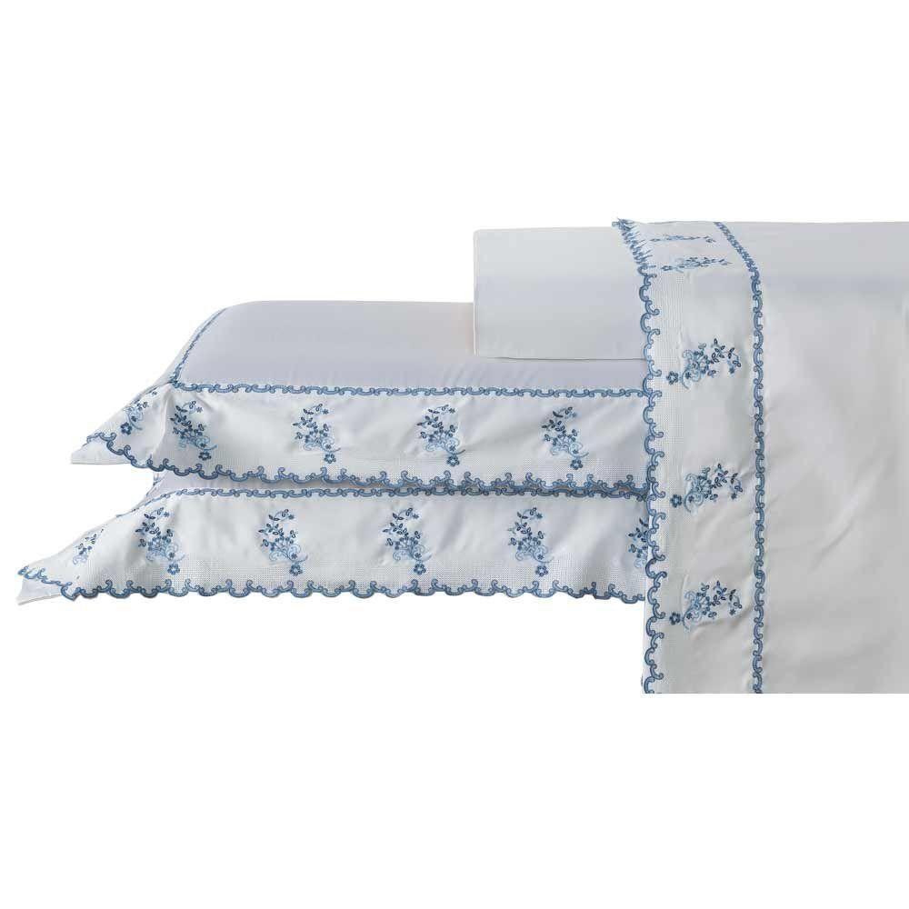 f961e4425f Jogo de Lençol King Priore 04 Peças 100 Alg. 400 Fios (Fio Egípcio) -  Branco Azul - Bernadete R  1.290