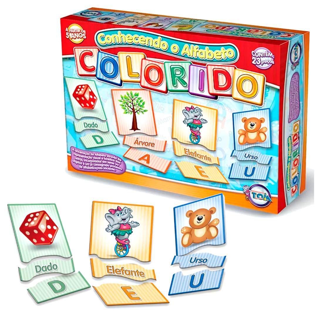 e8cc9a05b53 Jogo educativo conhecendo o alfabeto colorido 23 pçs - toia 12018 R  19