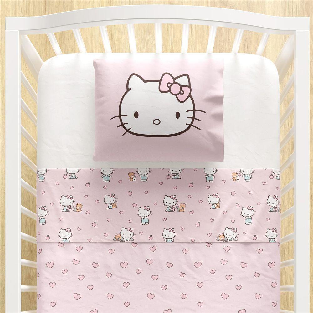 Jogo Lencol Berco Rosa Hello Kitty 3 Pcs Grao De Gente Lencois E Fronhas Magazine Luiza
