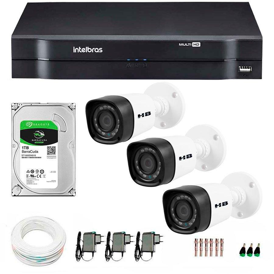 16c57644e6e33 Kit 03 Câmeras de Segurança HD 720p HB Tech + DVR Intelbras Multi HD + HD  para Gravação 1TB + Acessórios R  994