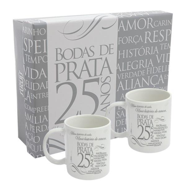 Kit 2 Canecas Com Caixa Bodas De Prata Simas Simas Presentaria