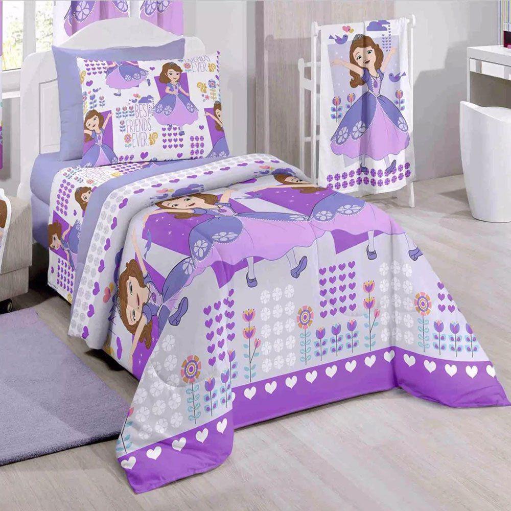 c32740610 Kit 5 Peças Jogo de Cama e Cortina Infantil Princesa Sofia Disney Santista  Produto não disponível