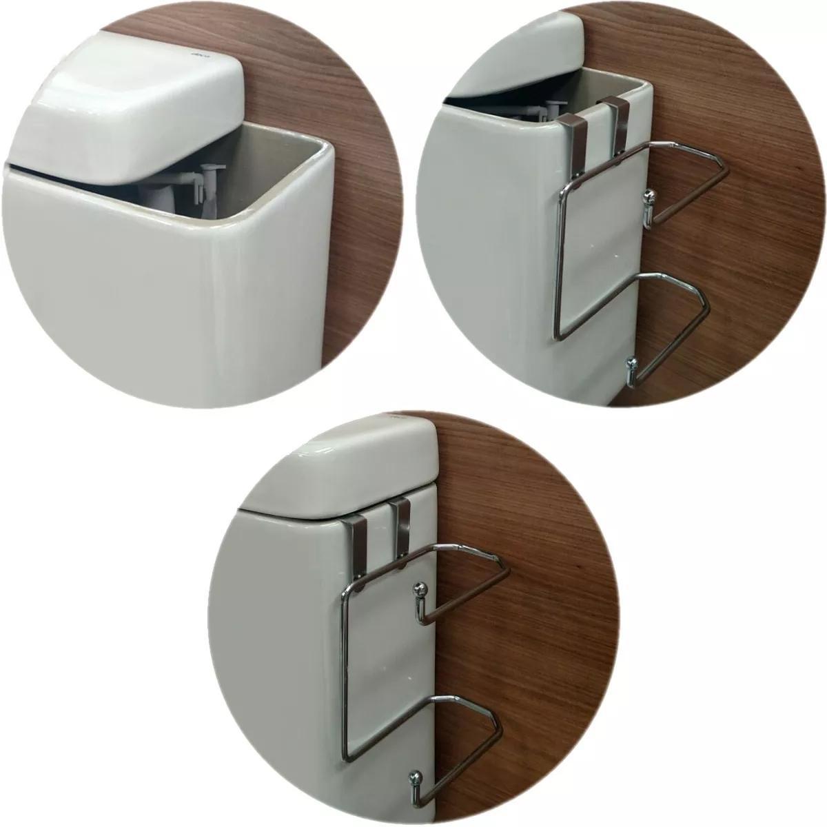 1f406dba3 Kit Banheiro Toalheiro 45cm Box Suporte Porta Papel Descarga - Zanline R   71