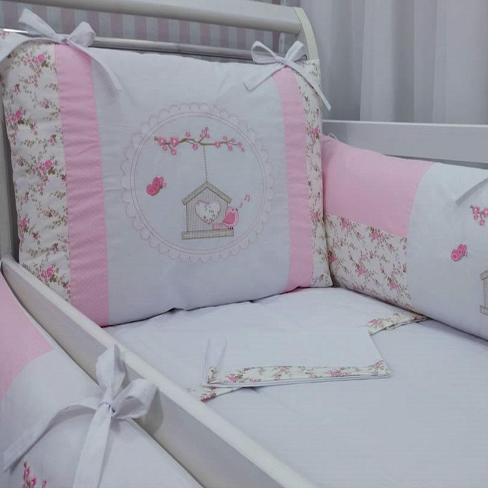 a92665ba8 kit Berço bordado 09 peças baby art florido silk birds baby rosa - Paulinha  baby R  299