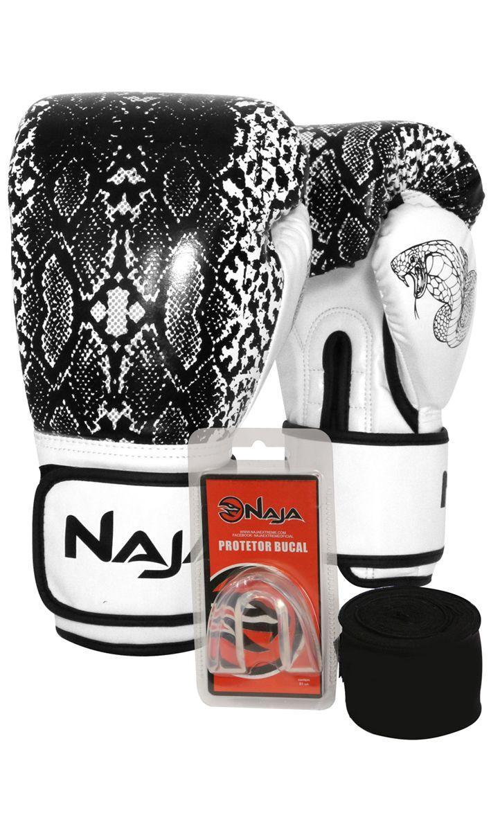 391514f87 Kit Boxe Muay Thai - Luva Animal Print Cobra Pérola + Bandagem (2