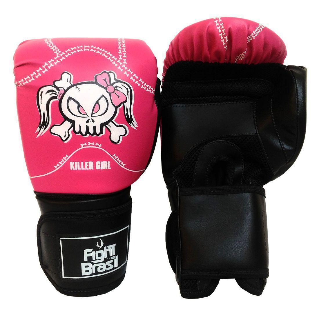 ce795f2be Kit Boxe Muay Thai Luva Bandagens Rosa 12 Oz Fight Brasil Feminino R   129
