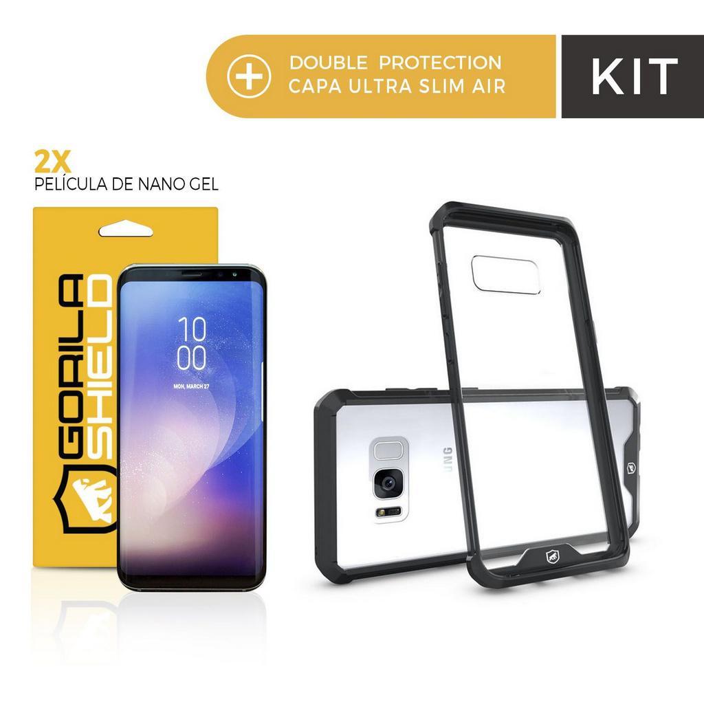 99a29aea8 Kit Capa Ultra Slim Air Preta e Película Nano Gel dupla para Samsung Galaxy  S8 Plus Gorila Shield R  119
