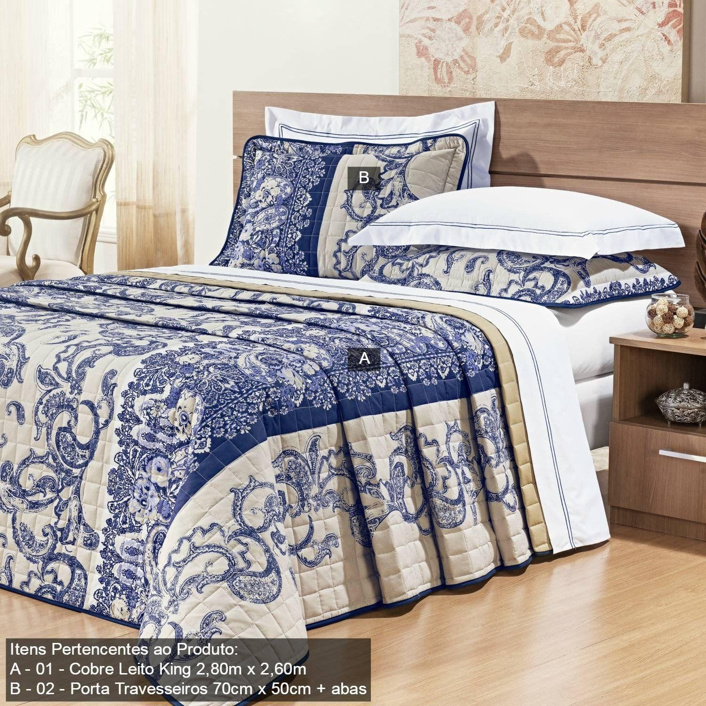 b3fe368a15 Kit Colcha King Nobre 3 Peças 200 Fios Bernadete Casa Azul R  469