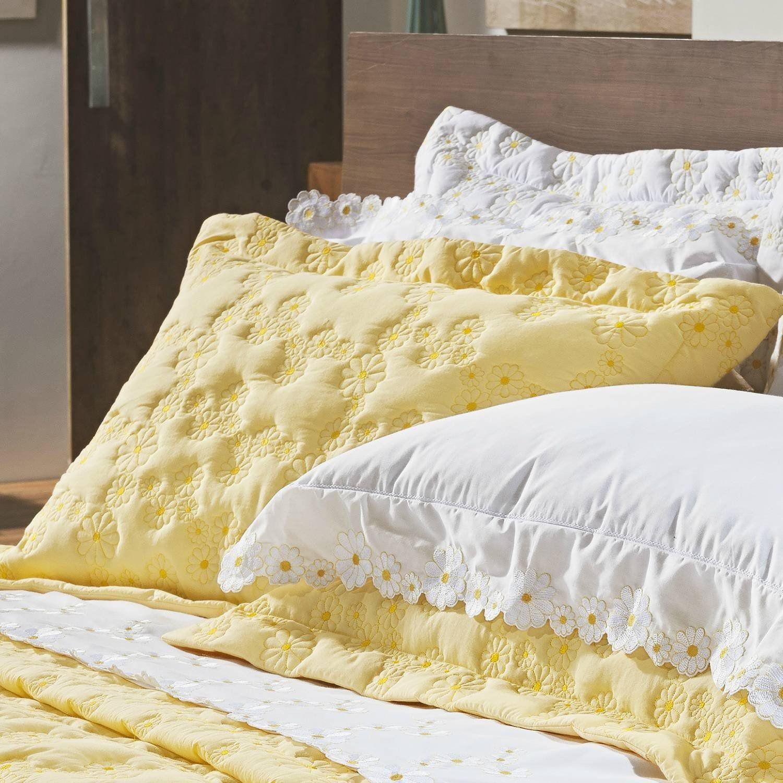 8865fad52f Kit Colcha Queen Algodão 200 Fios 3 Peças Nuance Bernadete Casa Amarelo R   749