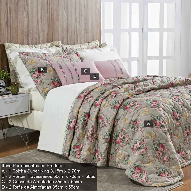 f1133c9ca0 Kit colcha Super King Floral 7 Peças Allegra Bernadete Casa Bege R  559