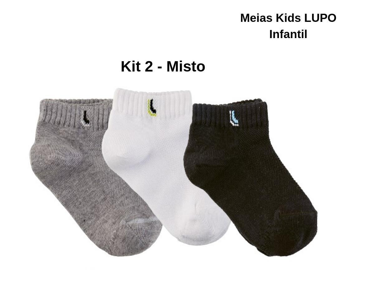2062ef7a3 Kit Com 9 Pares Meias Lupo Kids Cano Curto Infantil Algodão - Meia ...