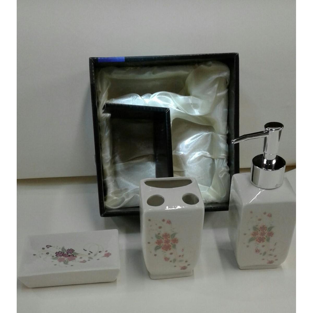 Kit Banheiro Porcelana : Kit de banheiro floral porcelana wincy casa banho