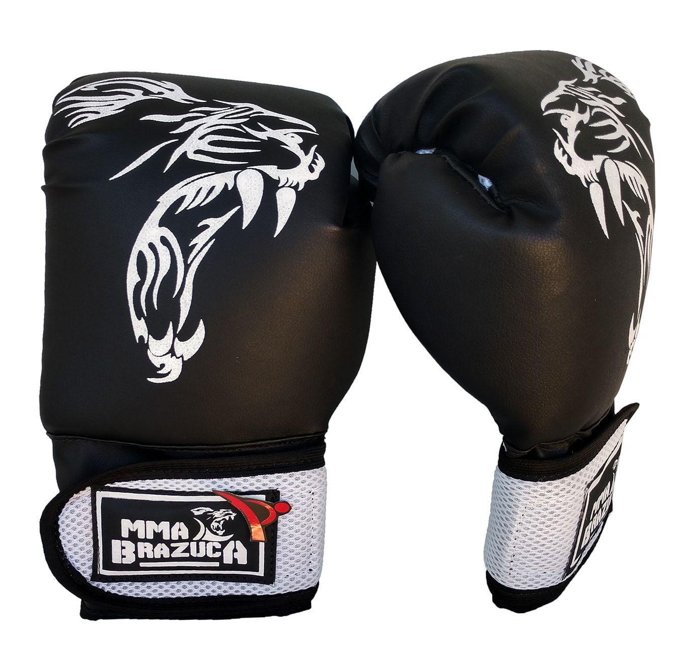15b533905 Kit de Boxe   Muay Thai 14oz - Preto com Branco - MMA Brazuka - Kit ...
