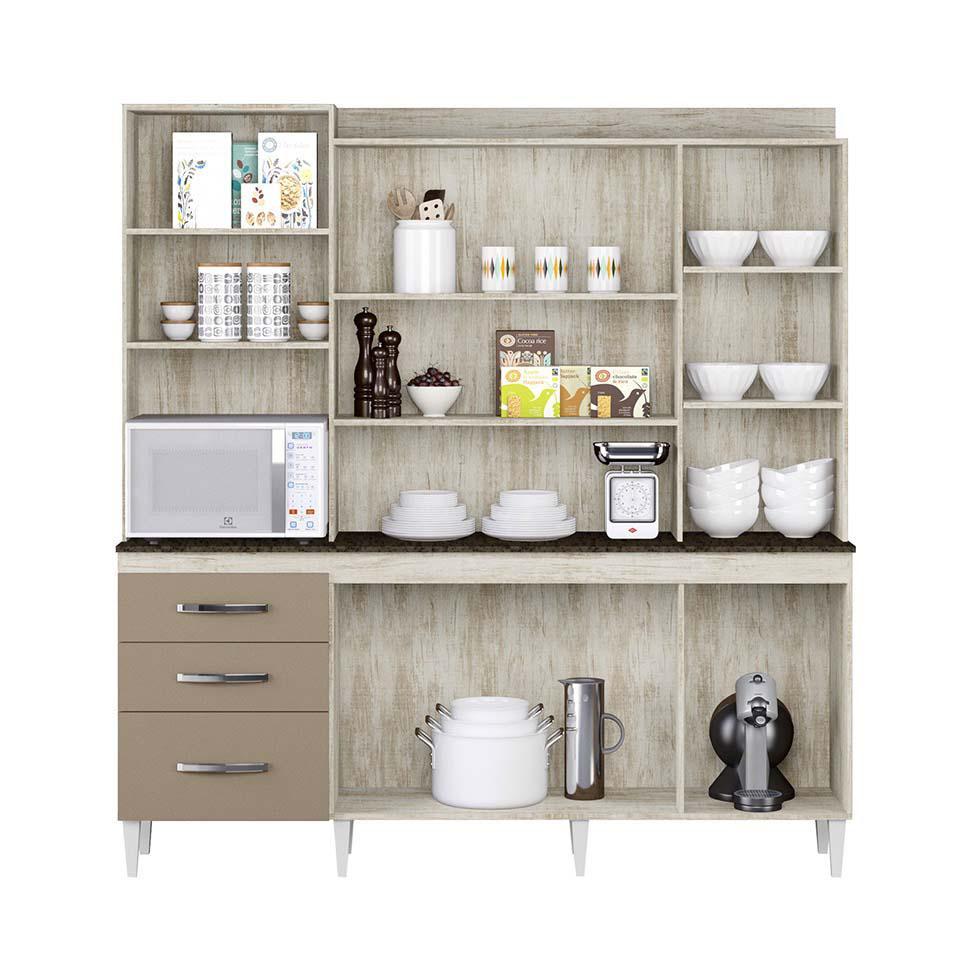 c4b4d75c213 Kit de Cozinha Mirela 7 PT 3 GV Essence e Brown - Aramóveis R  656