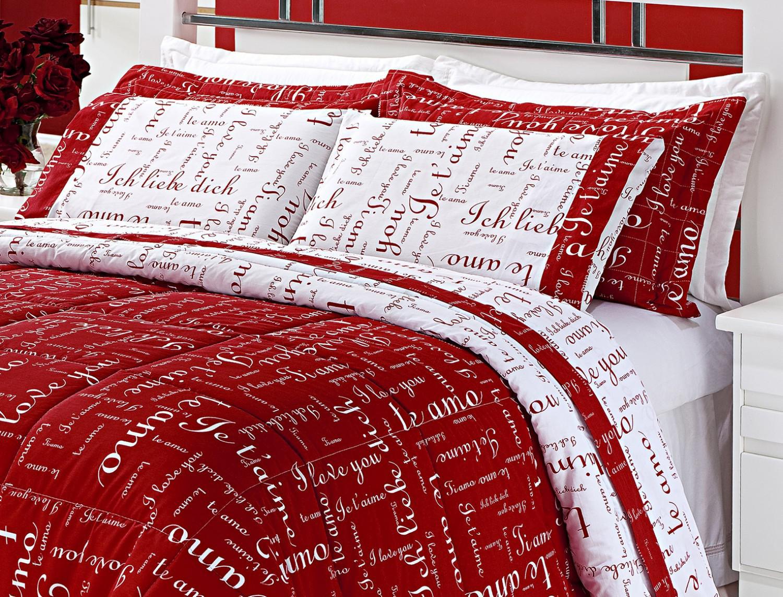eac2089836 Kit Edredom Casal Queen Te amo 5 Peças Dupla Face 100 Algodão 150 Fios  Vermelho com Branco - Enxovais aquarela R  393