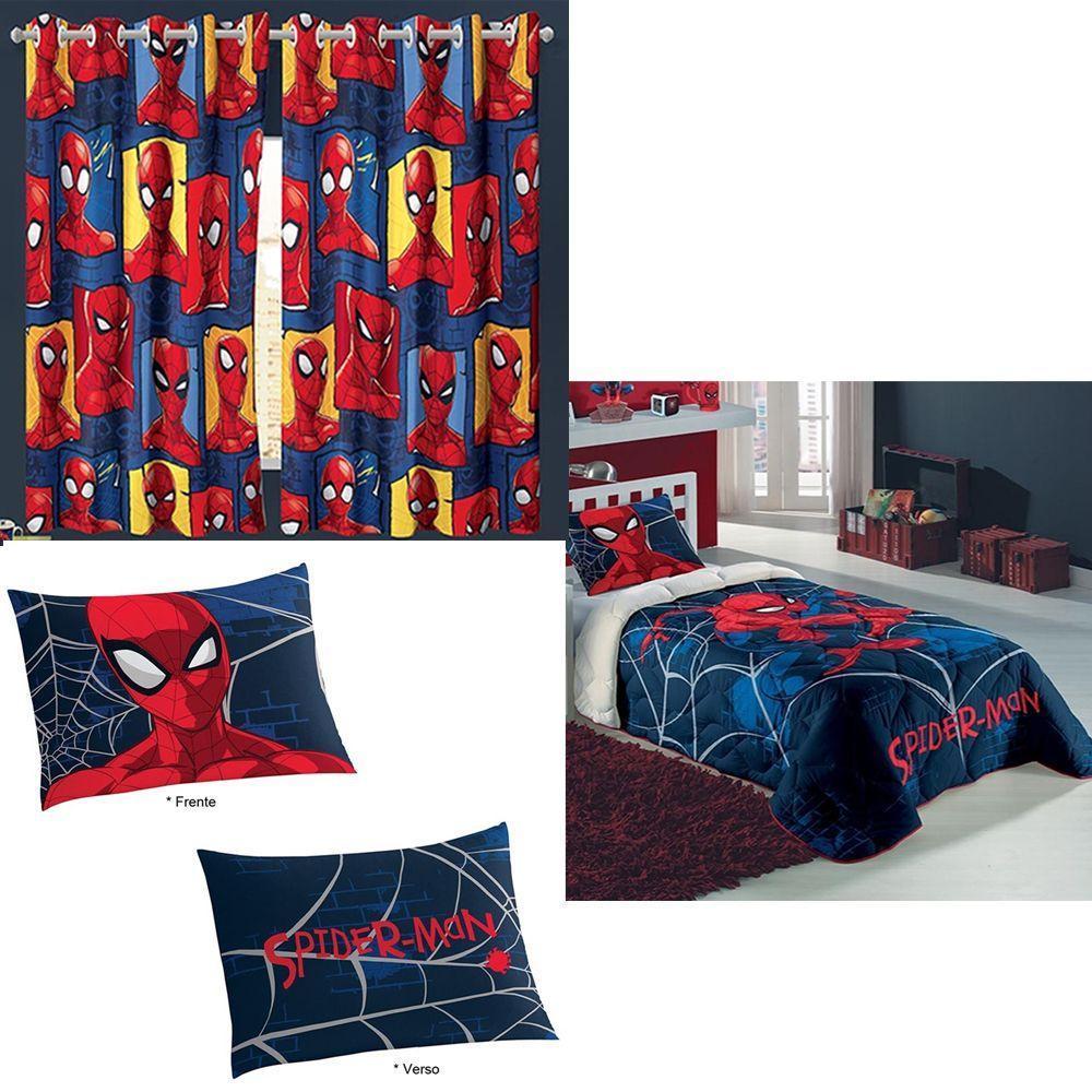 22ff8e204e Kit Edredom Homem Aranha + Cortina Fronha Spider Man Lepper Produto não  disponível