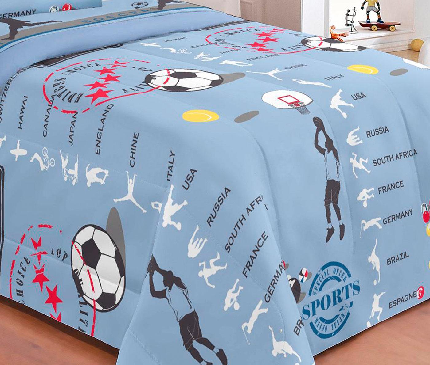 cf7de89713 Kit Edredom Solteiro + Jogo de Cama Sports 100 Algodão 05 Peças - Azul - Borda  bordados enxovais R  119
