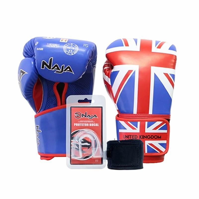 c70bcdef08 Kit Luva Boxe Muay Thai Competição Bandagem Bucal Países Reino Unido Naja  R  150