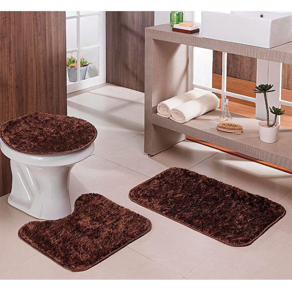 Jogo Para Banheiro Classic Com 3 Peças Trigo - Tapete
