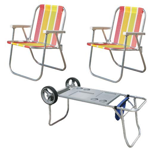 Kit Praia Jardim com 1 carrinho mesa + 2 cadeiras Varanda Alta em alumínio  - Botafogo R  249 606189bd6959b