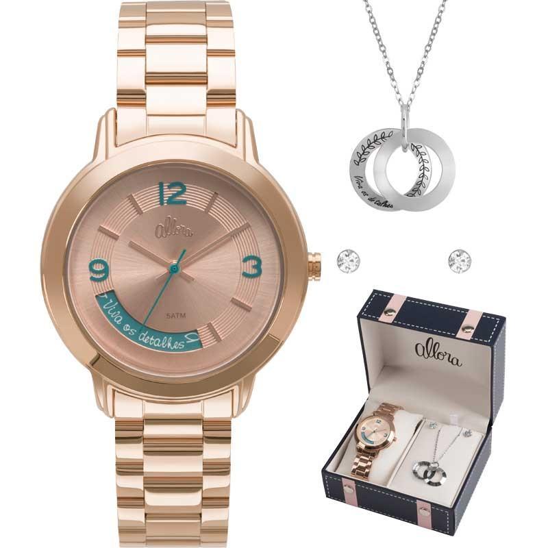 d591d5377ab40 Kit Relógio Allora Feminino com Colar e Brincos AL2315AJ K4T - Produto não  disponível