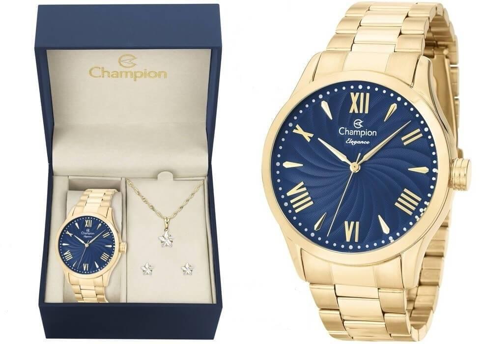d9c5b4e6f0b Kit Relógio Champion Elegance Feminino CN27796K com Colar e Brincos R   175