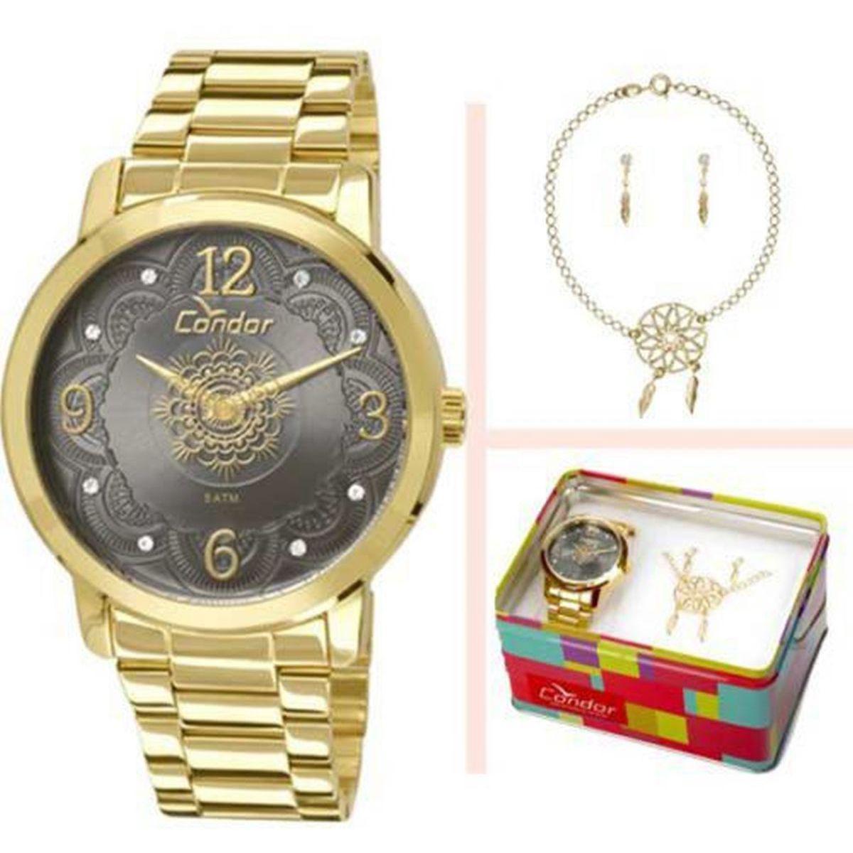 3255c977997 Kit Relogio Condor Feminino Mandala Com Pulseira e Brincos - Co2036cn k4c -  Dourado Produto não disponível