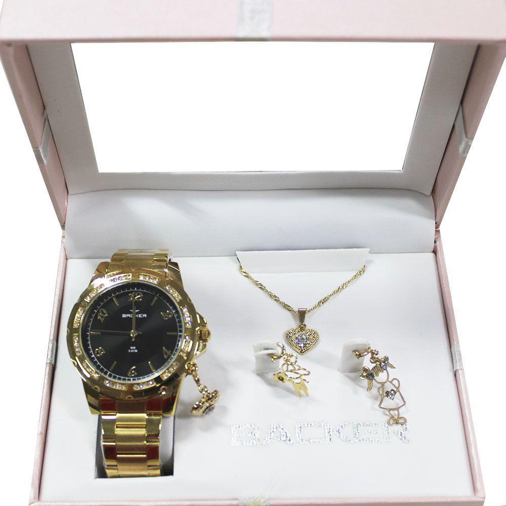 ffd44421996 Kit Relógio Feminino Backer 106360059F - Dourado - Relógio Feminino ...