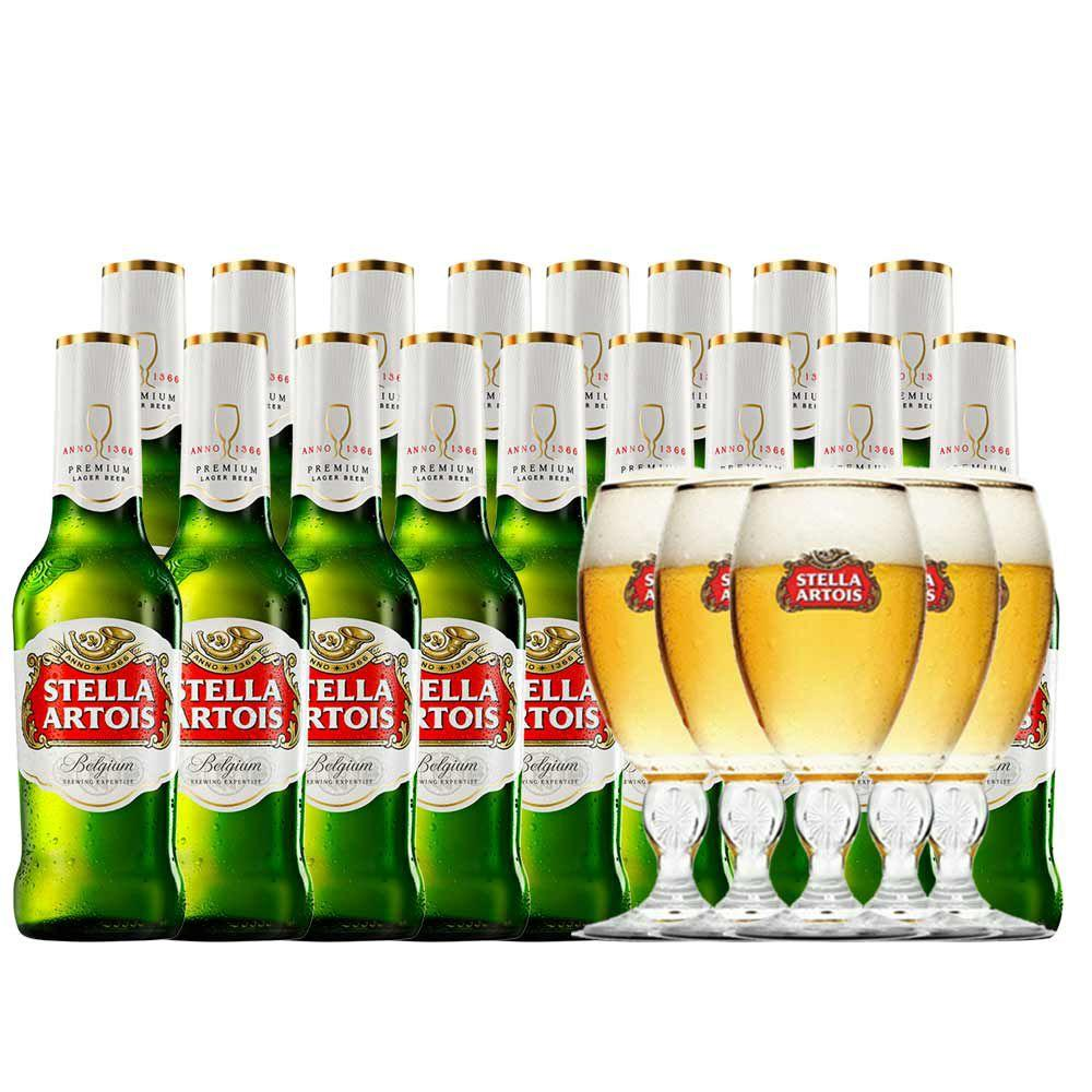 Kit Stella Artois 275ml (24 unidades) + Cálice Stella 250ml (6 ...