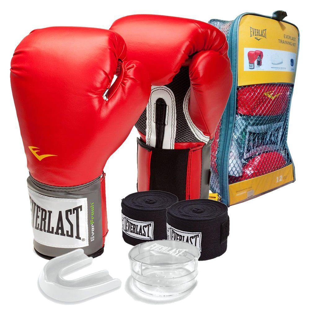 2f464bd32 kit Vermelho masculino   Feminino - Boxe Muay Thai Kickboxing - luva 14 oz  + bandagem + protetor bucal - Everlast Produto não disponível