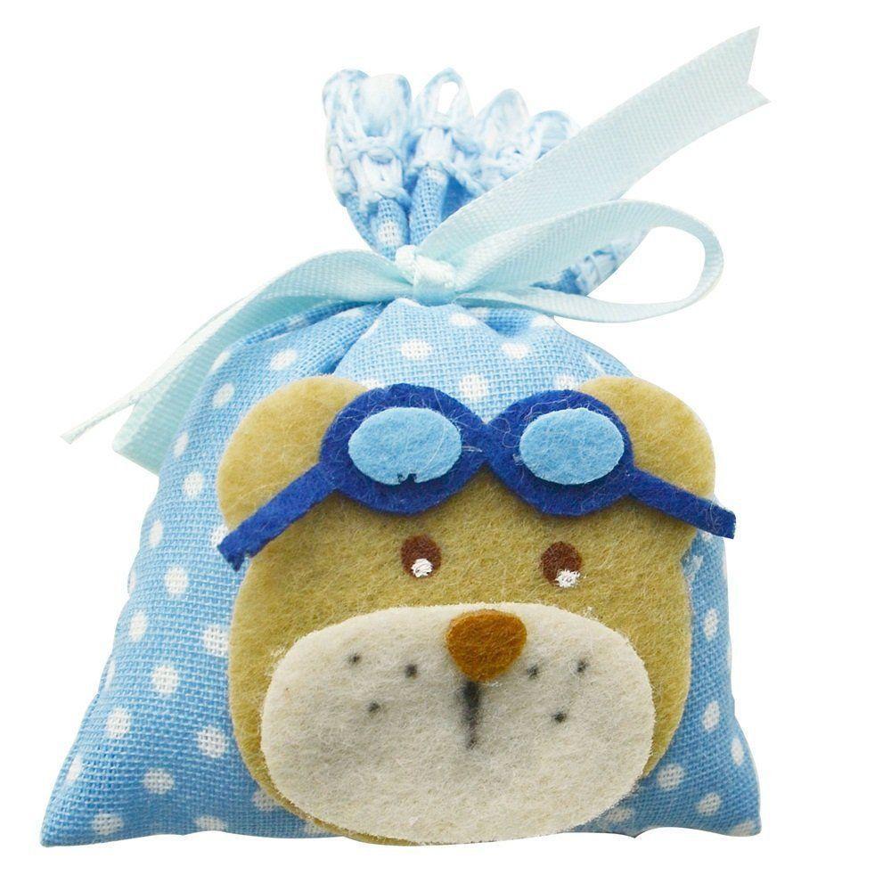 Lembranca Chaveiro Sache Azul Poa Feltro Urso Aviador Mais Que