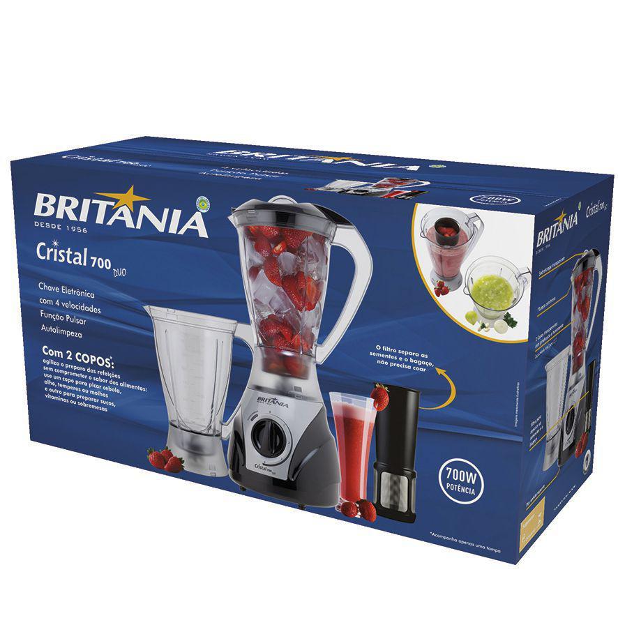1dbe17553 Liquidificador Britânia Cristal Duo 700W - Liquidificador e ...
