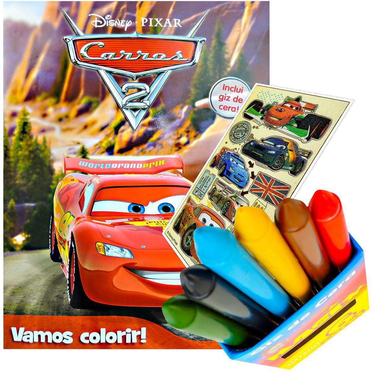 Livro Para Colorir Carros Com Giz De Cera Mais Adesivo Dcl