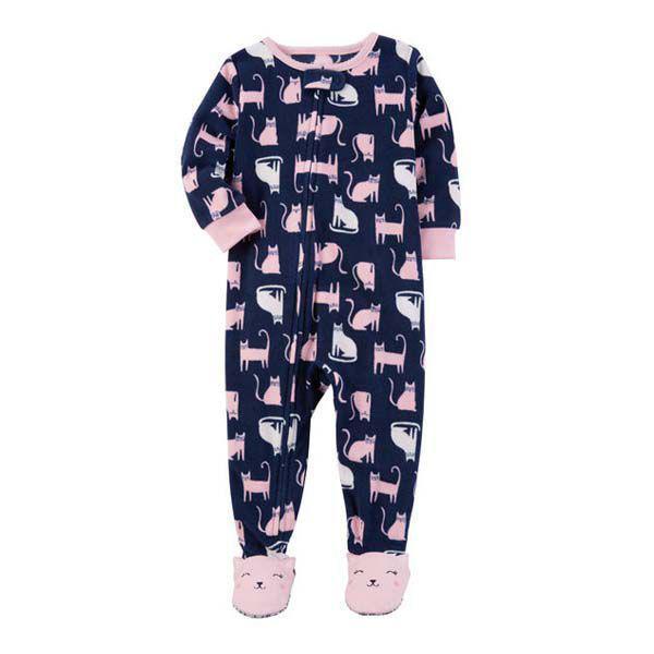 2cefbb629ccd12 Macacão Pijama Fleece Com Pé Gatos - Carters - Macacão e Macaquinho ...