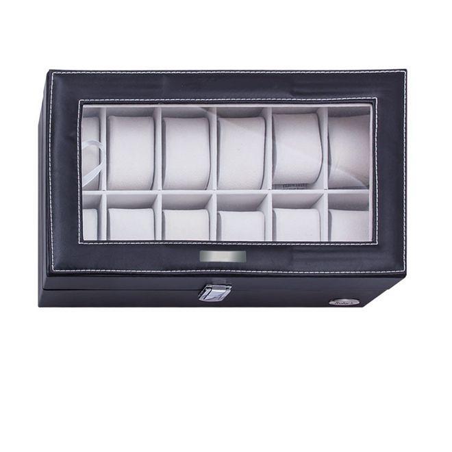 91345a1e4 Maleta estojo caixa porta relogio organizadora para 12 relogios em madeira  e couro com visor - Faça resolva R  104