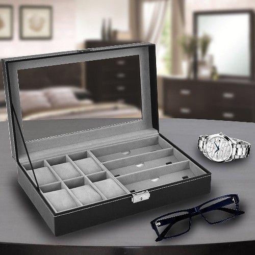 02157e8afb9 Maleta estojo porta 6 relogios e 3 oculos caixa organizadora relogio e  oculos em madeira e couro com - Faça resolva R  131