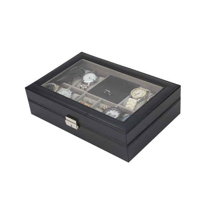 c8e08c5587d Maleta estojo porta joias e relogio caixa organizadora para 8 relogios  pulseiras brincos aneis com c - Faça resolva R  120