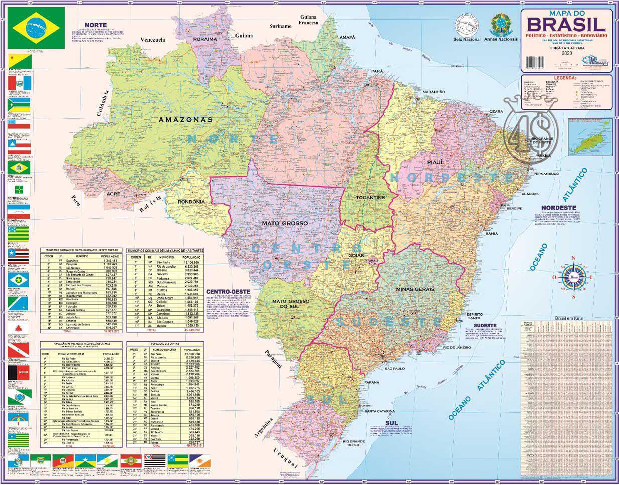 Mapa Brasil Politico Regional Rodoviario 120 X 90cm Gigante