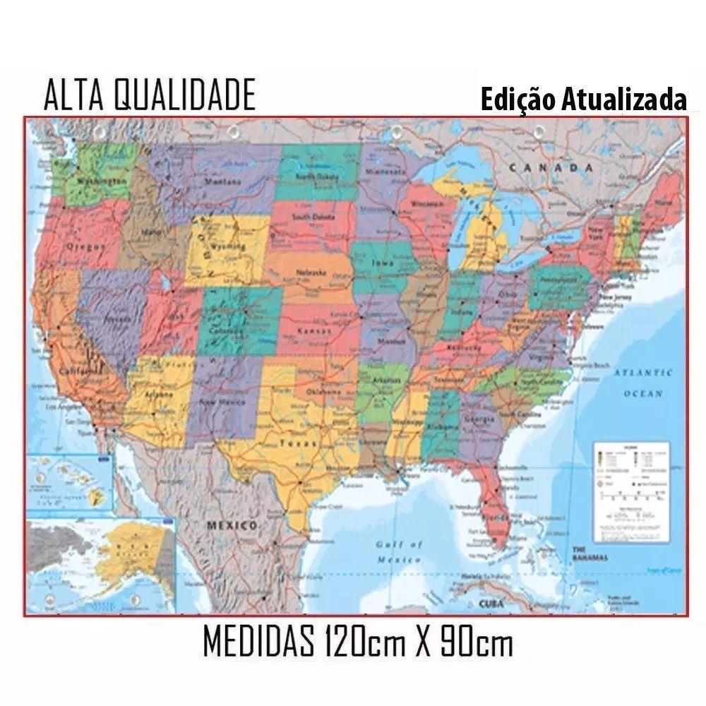 Mapa Estados Unidos America Eua 120cmx90cm Spmix Mapas E Atlas Magazine Luiza