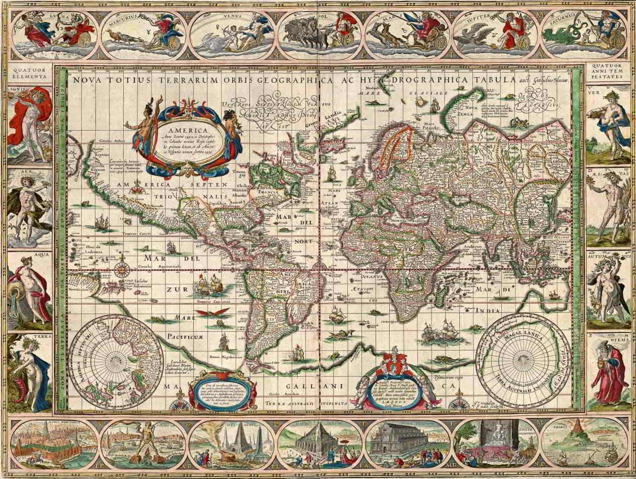 mapa mundo antigo Mapa Mundi Antigo 1635 Tela Grande Para Quadro   Santhatela  mapa mundo antigo