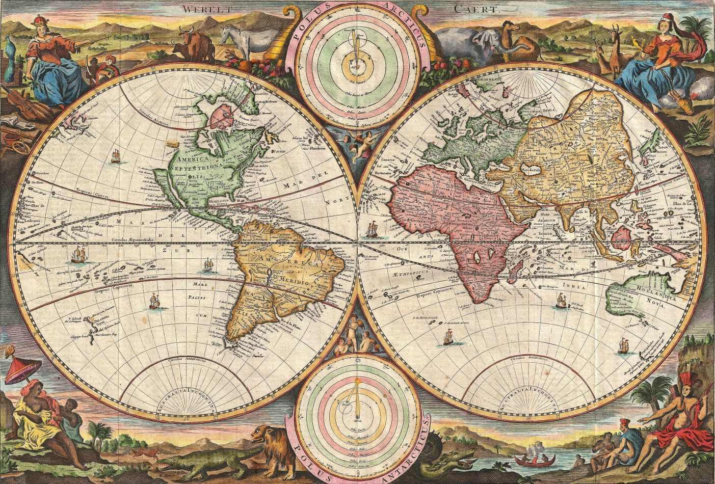 mapa mundo antigo Mapa Mundi Antigo 1731 Tela Enorme Para Quadro   Santhatela  mapa mundo antigo