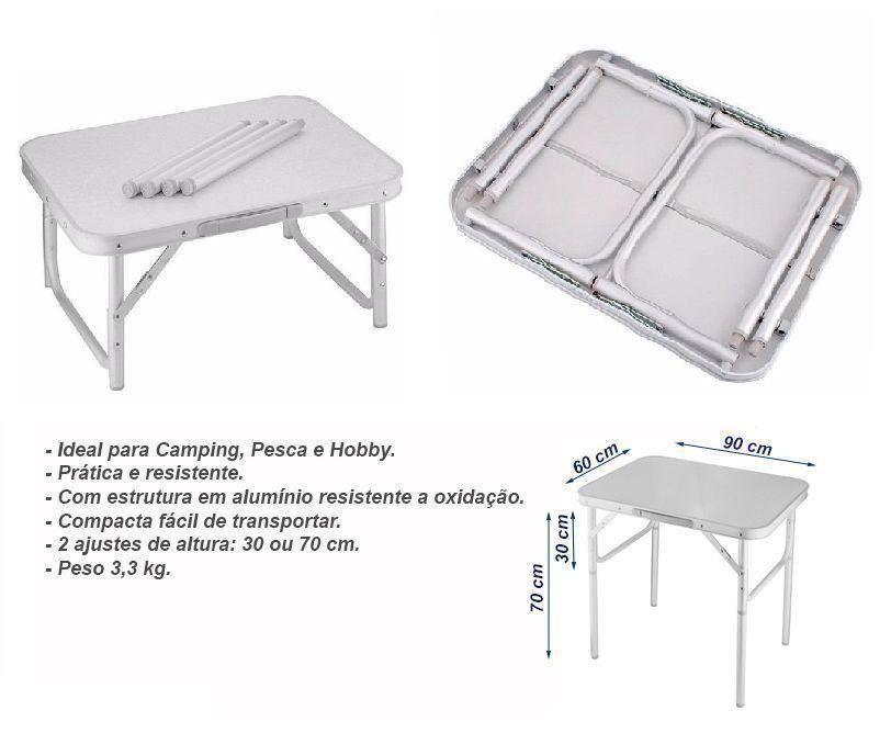 0fea13931 Mesa Alumínio Dobrável Camping Tampo 90x60 - Vira Maleta - Palisad camping  R  124