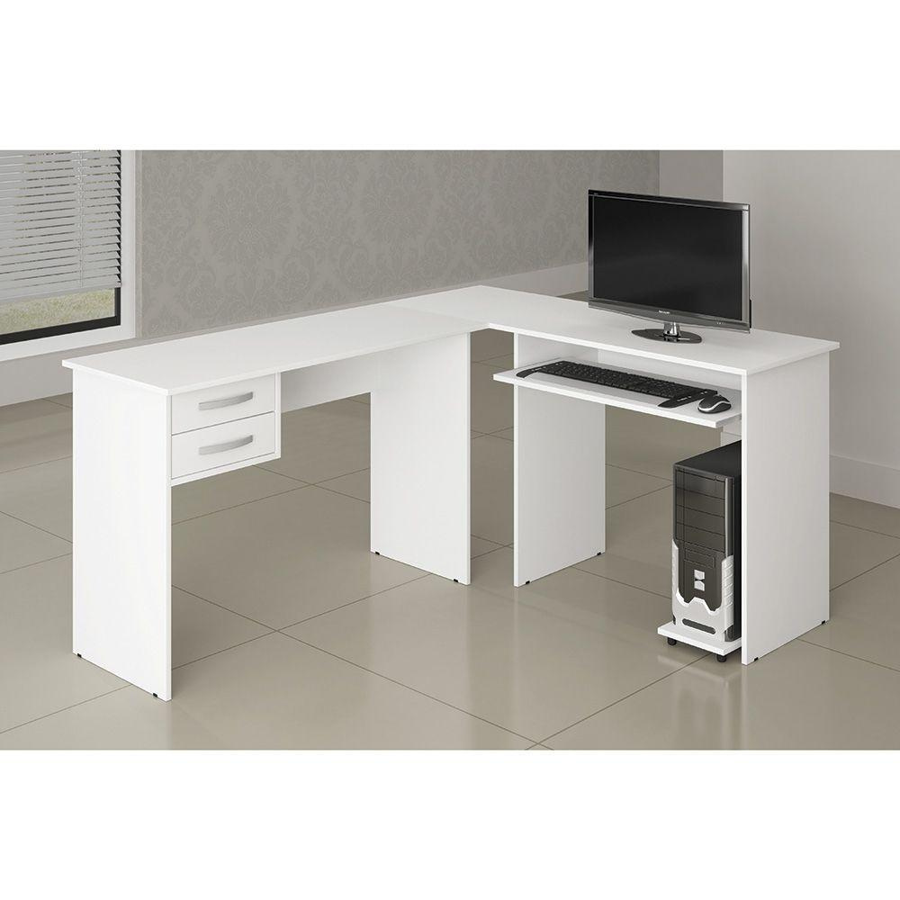0a686bd18 Mesa para Computador Em L Triunfo Branco com 2 Gavetas Benetil - Benetil  móveis R  396